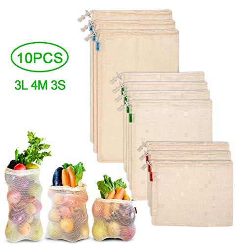 Hivool 10 (3S, 4M, 3L) Herbruikbare Productzakken Gaaszakken voor Het Bewaren van Groenten en Fruit Ademende Katoenen Zakken om Te Winkelen Fruit- en Groentetassen Machinewasbaar,Milieuvriendelijk
