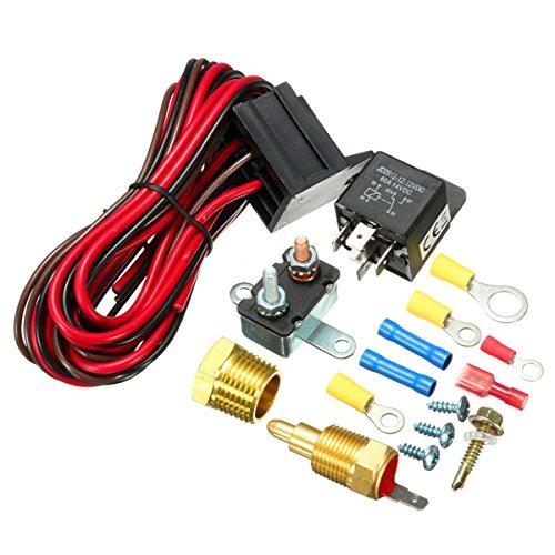JINXL Kit de relé del sensor del interruptor de temperatura del termostato del ventilador de enfriamiento del motor de 210~195 grados Accesorios para herramientas automotrices