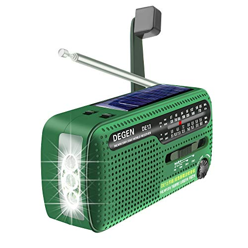 DEGEN DE13 FM AM SW Crank Dynamo Solar Power Emergency Radio A0798A...
