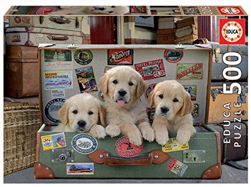 Educa - Cachorros en el Equipaje Puzzle, 500 Piezas, Multicolor (17645)