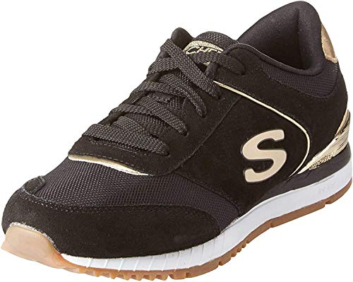 Skechers Sunlite-Revival, Zapatillas Mujer, Negro (BLK Black Suede/Mesh/Gold Duraleather Trim), 36 EU