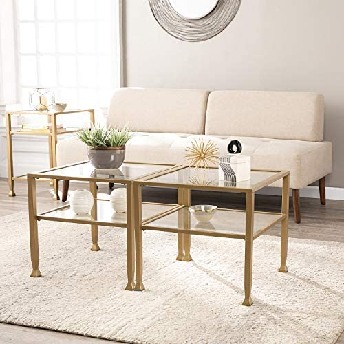 Best SEI Furniture Jaymes Metal & Glass Bunching, Square Coffee Table, Soft Gold