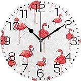 Bello orologio da parete Senza cuciture del fenicottero Rosso Orologio Decorativo Senza Cornice di Modo per la decorazione Della casa dell'aula del salone Della Camera da letto Della cucina