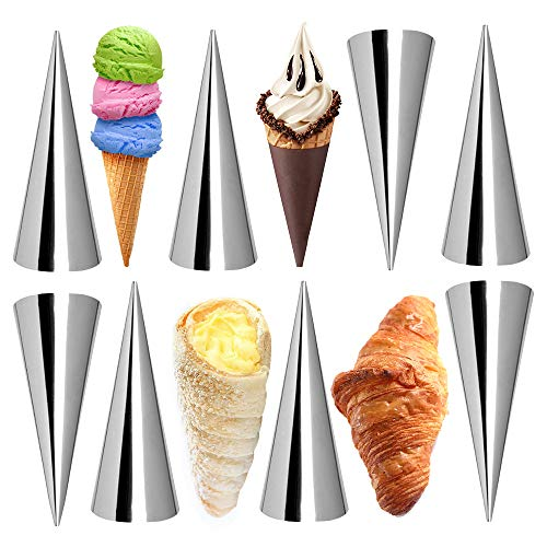 Kslong Cream Horn Molds 12pcs Large Size 4.7 inch Baking Cones Stainless Steel Roll Horn Forms Conical Danish Pastry Croissant Cones Moulds