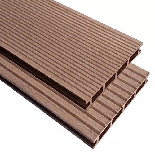 Tidyard Baldosas de terraza WPC con accesorios, juego completo de baldosas de clic, para terraza y balcón, 15 m², 4 m, color marrón
