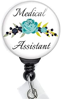 Floral Medical Assistant Retractable Badge Reel with Swing Clip and 36 Inch Cord.