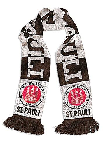 FC St. Pauli Streifen Schal Fanschal Scarf (braun/weiß, one Size)