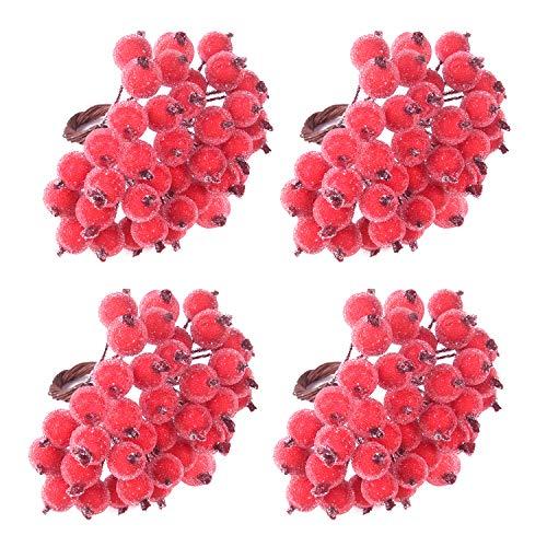 TUPARKA 160Pcs Rot Holly Beeren Weihnachten Dekoration Weihnachtskranz Dekoration Künstliche Holly Berry zum Basteln Geschenken Dekoration (Rot Matt)