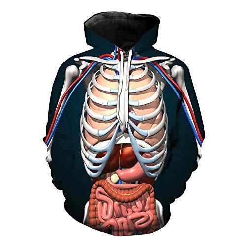 Unisex 3D stijlvolle Hoodies skelet digitale Print Pullover lange mouwen Hooded Sweatshirt voor feesten Halloween Cosplay kostuum