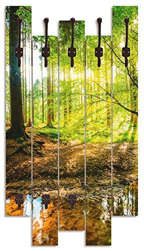 Artland Wandgarderobe Holz Design mit 8 Haken Garderobe Paneel mit Motiv 63x114 cm Natur Landschaft Wald Bach Herbst Sonne Grün T9IO