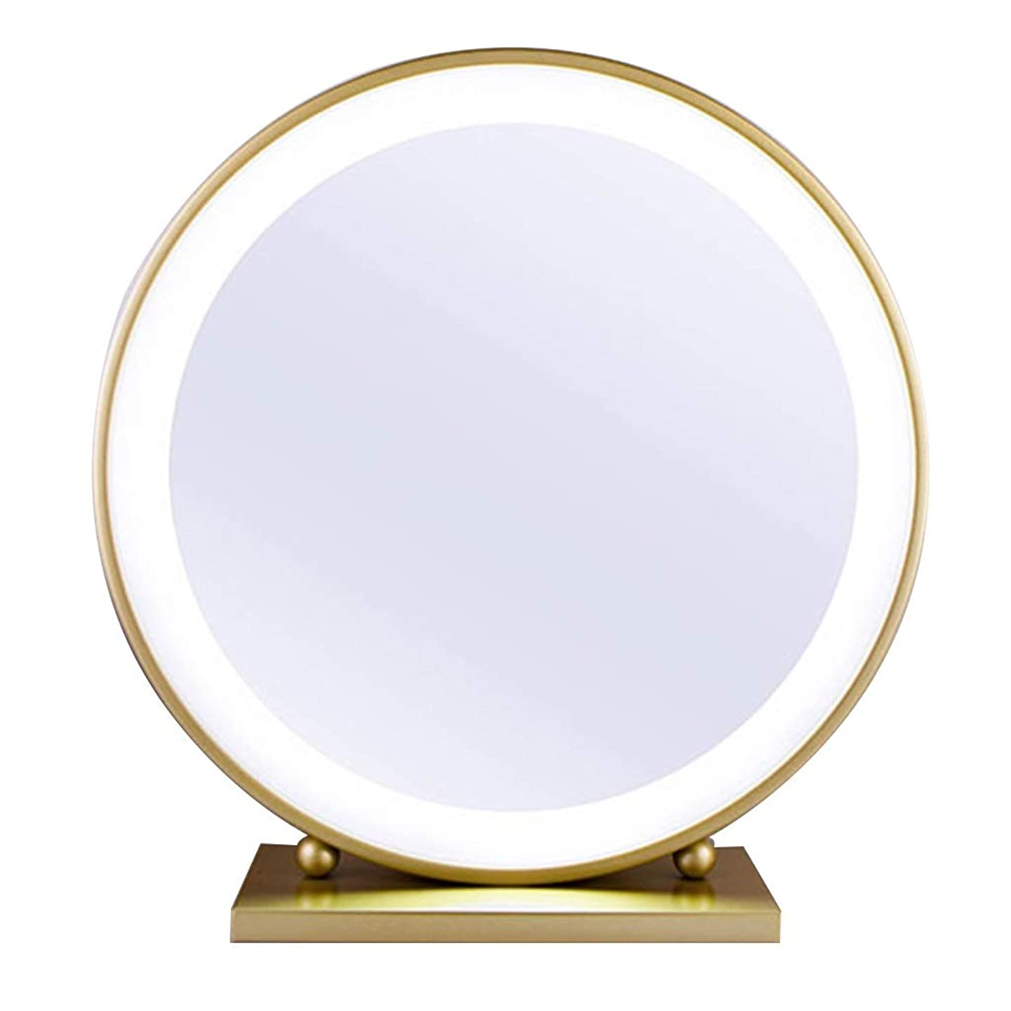 Dgeg Makeup Mirror Simple Gold Round Tabletop Mirrors for Dressing Table Bedroom (color : B(with lights), Size : 50cm)