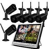 Lvreby IP CAM 1080P 2MP Seguridad IP cámara Wi Fi Video vigilancia Kit Grabador inalámbrico NVR LCD Monitor CCTV Set al Aire Libre Home-2/4/6/8CH 2TB TF Tarjeta,6CH
