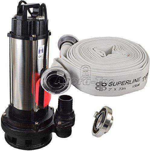 Agora-Tec® Baupumpe AT-1500W Tauchpumpe für Schmutzwasser, Abwasser, für Fäkalien und organische Feststoffe mit Schwimmerschalter und max: 2,6 bar und max: 19000l/h inklusive C - STORZ Kupplung und (C-Schlauch: 20 Meter)