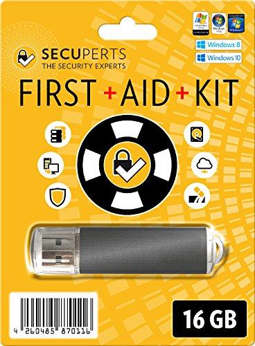 SecuPerts First Aid Kit – votre kit d'urgence pour Windows – récupération de données et logiciel antivirus – clé USB 3.0 16GB