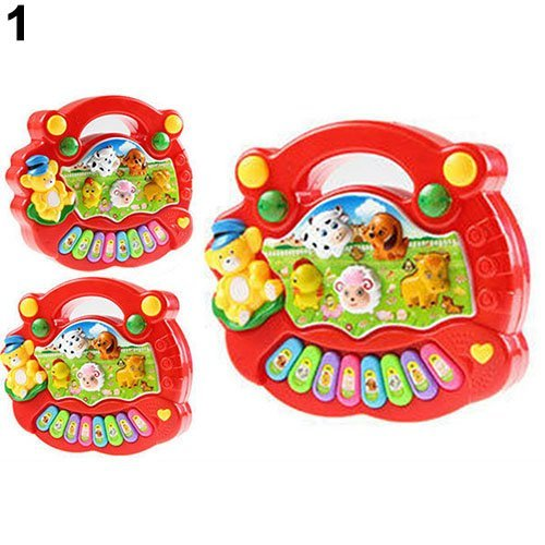 Ogquaton Baby Kinder Musikspielzeug Pädagogische Animal Farm Piano Entwicklungs Musik Spielzeug Rot Premium Qualität