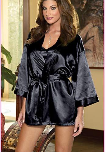 FPXNBONE Lingerie Transparente Spitzenunterwäsche,Sexy sexy Pyjama, erhöhen Vier Sätze Bademäntel-schwarz_XL,Spitze Lingerie Nachtkleid Babydoll Dessous