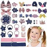 MELLIEX 36 Piezas Accesorios Pelo Niña, Set de Bebe Horquillas Pelo y Gomas Pelo Rosado & Azul Pinza de Pelo Clips Lazos de Bebé Accesorios para el Cabello