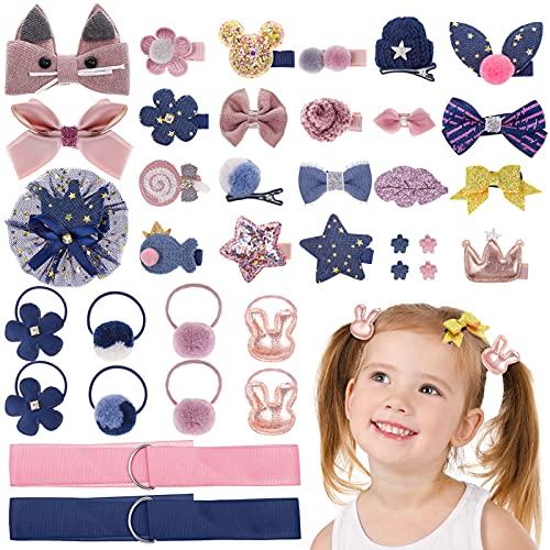 MELLIEX 36 Stück Mädchen Haarschmuck Set, Baby Haarspangen Haargummis Klein Haarclips Haarschleife Haarklammern zum Baby Kinder Mädchen (Rosa & Blau)