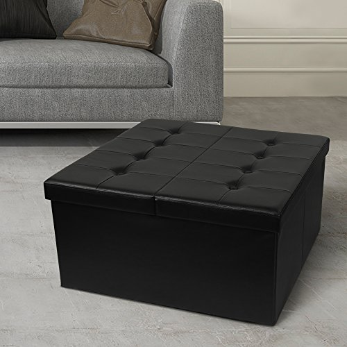 Otto & Ben Coffee Table with Smart Lift Top Tufted Folding Faux Leather Trunk Ottomans Bench Foot...