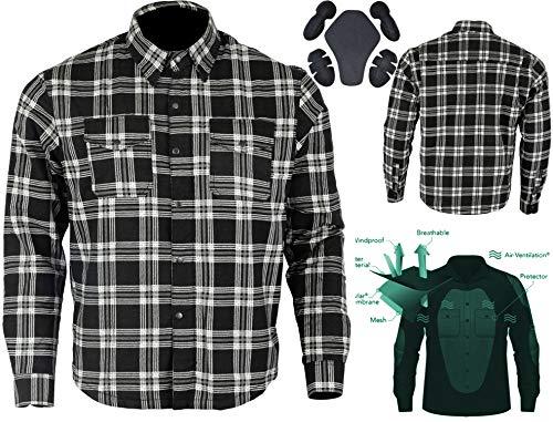 Bikers Gear Australia - Camisa protectora de franela para motocicleta con forro de aramida multicolor negro y blanco xx-large