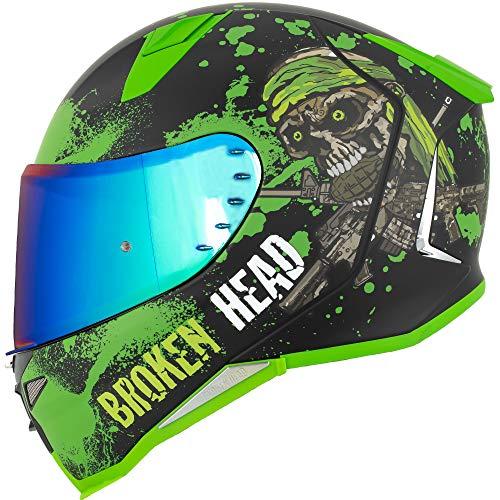 Broken Head Jack S. V2 Pro - Integral-Helm grün - Sport-Motorrad-Helm incl. gratis grün verspiegeltem Visier (S 55-56 cm)