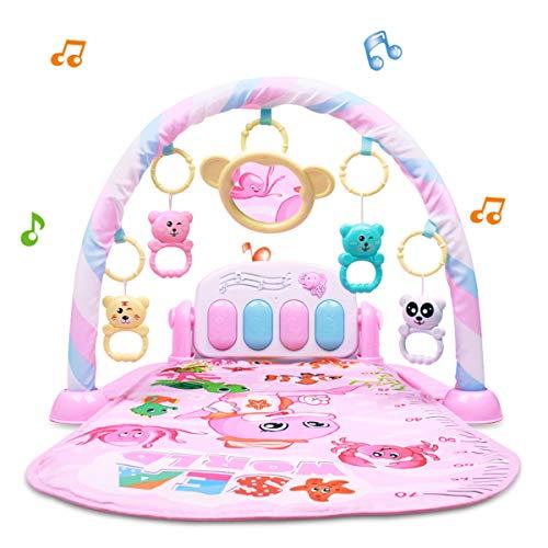 Barakara Krabbeldecke 3-in-1 Spieldecke Baby Klavier Erlebnisdecke Spielmatte mit Lichtern und Musik ab 3 Monaten Rosa Ozean