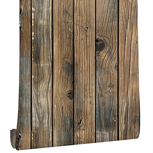 FOOSKOOBZ Papiers Peints Wallpaper Faux Bois rétro et bâton Papier Peint Auto-adhésif Planche de Papier Peint de Papier Peint Rouleau en Vinyle Amovible revêtement Mural for Restaurant (4 5cm * 6m)