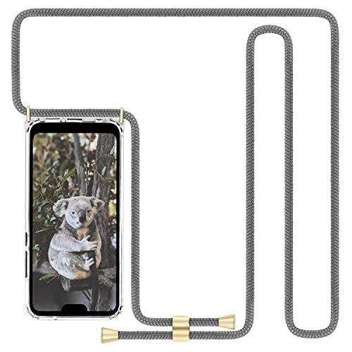 Imikoko Handykette Hülle für Huawei P20 Lite Necklace Hülle mit Kordel zum Umhängen Silikon Handy Schutzhülle mit Band - Schnur mit Hülle zum umhängen (Grau)