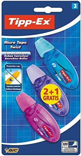 Tipp-Ex Cinta Correctora de Bolígrafos, Óptimo para material escolar,Micro Tape Twist, 8m x 5mm, Con Cabezal Rotativo, Blíster de 3 ⭐