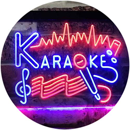 ADV PRO Karaoke Lounge Bar Club Home Music Dual Color LED Enseigne Lumineuse Neon Sign Rouge et Bleu 300 x 210mm st6s32-i3156-rb