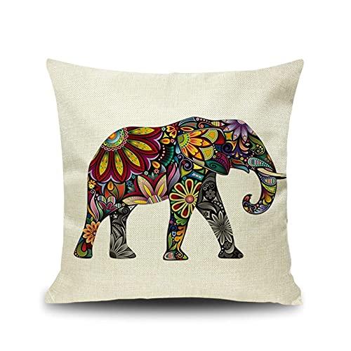 Socoz Funda de cojín, elefante Totem Beige de colores, 45 x 45 cm