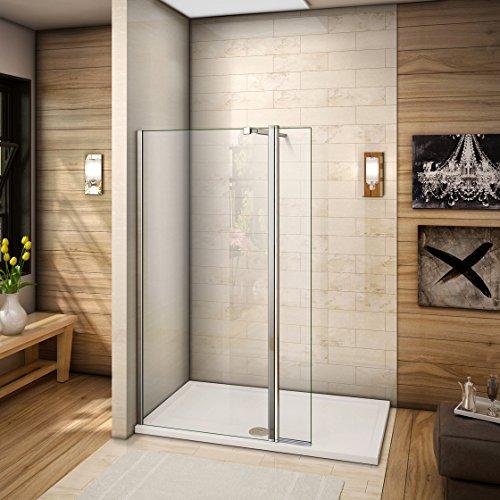 120x200cm Walkin Duschkabine Duschabtrennung 8mm Nano-glas Duschwand Dusche mit kleine Seitenwand 30cm