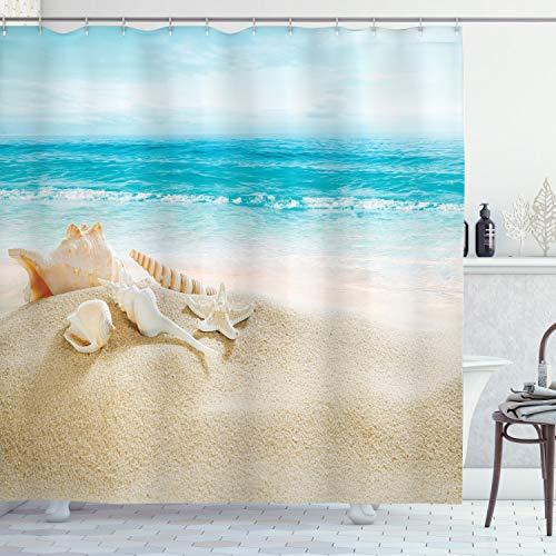 ABAKUHAUS Muscheln Duschvorhang, Pastell-Strand-Szene, mit 12 Ringe Set Wasserdicht Stielvoll Modern Farbfest & Schimmel Resistent, 175x240 cm, Mehrfarbig