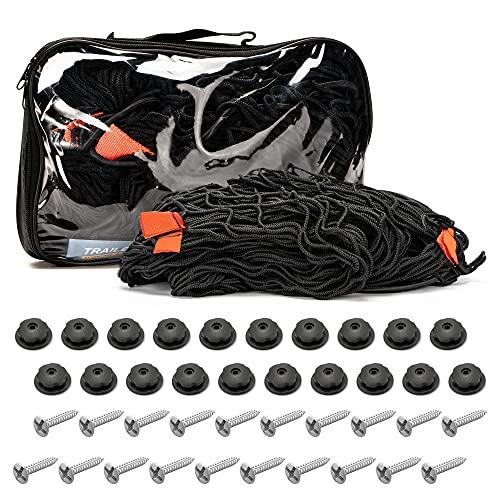 Filet Remorque MUSCCCM, Extensible pour remorques de Tailles 1x2 m à 2x3 m maillé avec Corde en Caoutchouc Noir pour la sécurité du Transport, enclos extérieur pour Lapins Couverture de bac à Sable