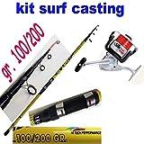globe fishing Canna Pesca SurfCasting Mulinello Filo Surf Kit Mare orata ombrina spigola