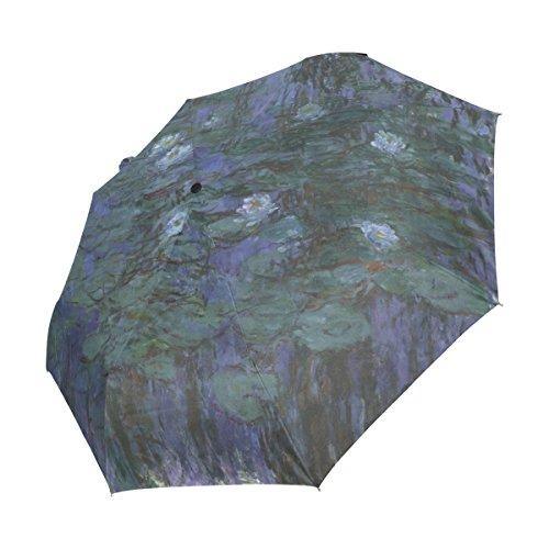 Ahomy Winddichter Reise-Regenschirm, Wasserlilien, von Claude Monet, Ölgemälde, Blumen, Regenschirme, automatisches Öffnen, Rutschfester Griff und Schutzhülle