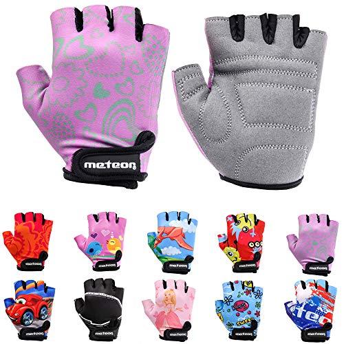 Meteor Unisex Kinder Fahrradhandschuhe Bike - Gel BMX Handschuhe, FLOWER, Gr.-Jr XS/ Handweite- 6-6.5cm