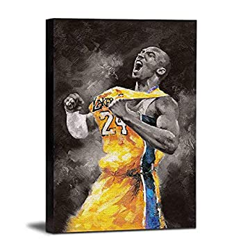 HONGRUIFAN Kobe Bryant Canvas Wall Art Painting Pictures - NBA Basketball Lakers Canvas Print with Framed Artwork Poster 8x12 inch for Wall Hanging