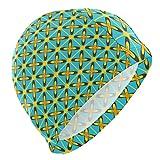 Alinlo Gorro de natación con diseño de flores estilo Batik, vintage, étnico, colorido, irregular geométrico, gorro de natación, impermeable, para baño, ducha, para adultos, hombres, mujeres, jóvenes y niños