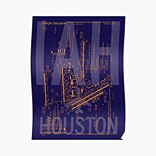 Iah Houston Airport Diagram Aviation Art - For Office Decor, College Dorm, Teachers, Classroom, Gym Workout And School Halloween, Holiday, Christmas Party ! Great Inspirational Wall Poster.