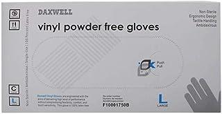 Daxwell Vinyl Gloves, Size Large Powder Free 100 Pcs
