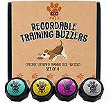 Zumbadores de entrenamiento grabables, juego de 4. botones de entrenamiento para perros y cachorros. Entrenar fácilmente a tu perro para presionar botones y voz lo que quieren.