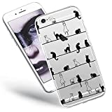 QULT Handyhülle kompatibel mit iPhone 6 iPhone 6s Hülle Silikon durchsichtig mit Motiv transparent dünn Slim Hülle Katzen Frühling