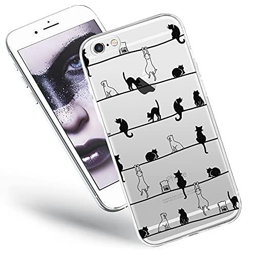 QULT Carcasa para Móvil Compatible con iPhone 6 Plus, iPhone 6S Plus Funda Dibujos Animados Silicona Transparente Suave Bumper Teléfono Caso para iPhone 6 Plus, 6S Plus Primavera de Gatos