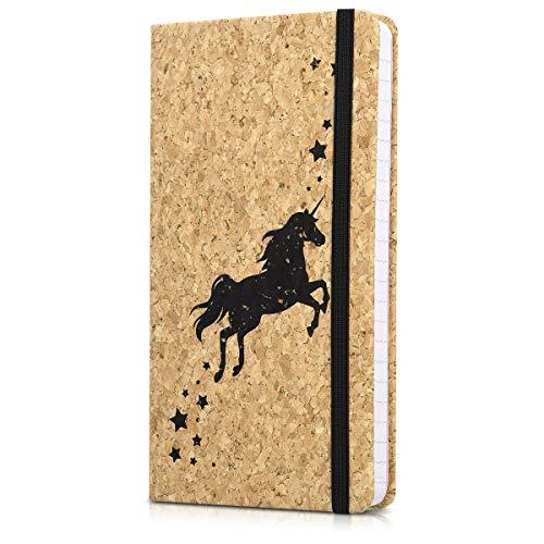 Navaris Kork Notizbuch liniert mit Gummiband - 18x13cm Hardcover Notebook Journal 100 Seiten - mit Bändchen und Fach im Einband - Einhorn Design
