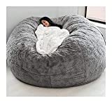 EKWQ 7FT Bean Bag Chair Cover, Living Room Furniture Big Round Soft Fluffy(Only Cover, No Filler) Faux Fur BeanBag Lazy Sofa Bed Cover 183cm Giant Fur Bean Bag Cover (Light Gray, Size : 7FT)