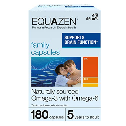 Equazen Family Capsules |Omega 3 & Omega 6 Supplement | 180 Capsules | Clinically Researched Blend of DHA, EPA and GLA | Suitable for Children from 5 Years to Adult