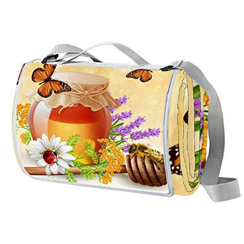 Anmarco Picknickdecke mit Schmetterling-Insekten und Honig, wasserdicht, faltbar, für Strand, Camping, Wandern