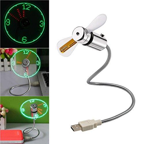 Dreamerd, mini ventilatore USB flessibile con orologio LED, mini ventilatore per laptop e PC