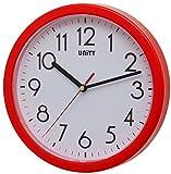Unity Hastings Silent Sweep-Orologio da Parete Moderno, Rosso, 22 x 22 x 3 cm